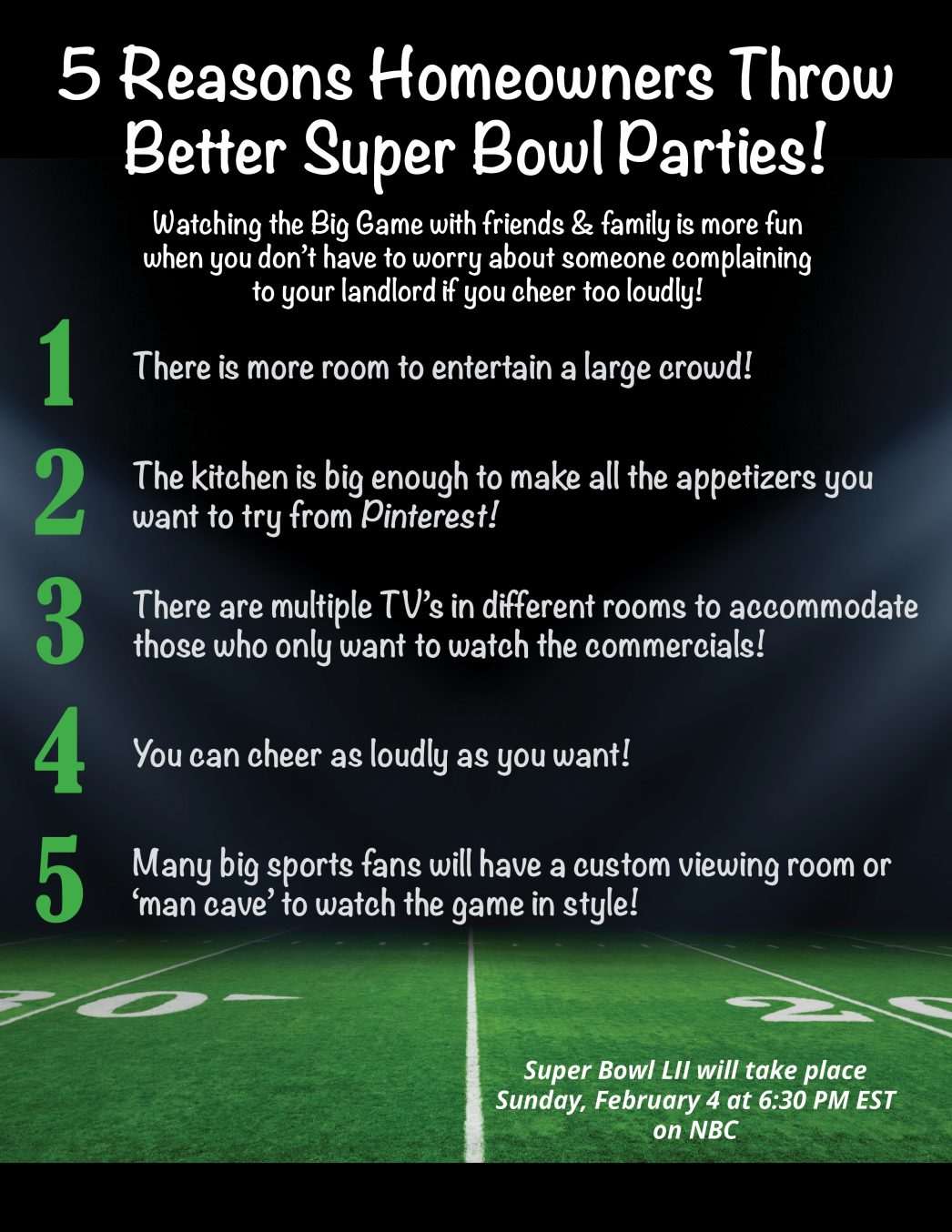 5 Reasons Homeowners Can Throw Better Super Bowl Parties! [INFOGRAPHIC] | MyKCM