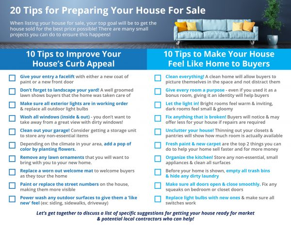 20 Tips For Preparing Your House For Sale | MyKCM